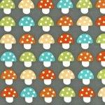 woodland pals fabric, mushroom fabric