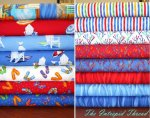 Ocean View - Half Yard Bundle in Blue and Red  includes Panel