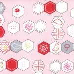 Sew Stitchy - Hexagons in Carnation