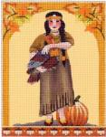 MS1338D Vintage Pilgrim Kids Indian Girl with Turkey