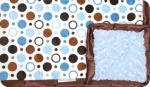 Cache: Dark Brown and Light Blue Polk-A-Dot with Blue Swirl and Brown Ruffle