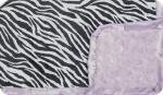 Shannon Lavender: Black and White Zebra minky, with Lavender Swirl and Lavender Ruffle