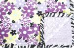 Brylee: Purple, Yellow, Gray Flowers with Lav Swirl and Zebra Satin