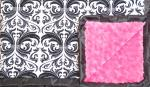 Jami: Black and White Damask with Hot Pink Swirl and Black Ruffle
