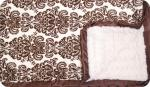 Paris Brown: Brown and Cream Damask Print with Cream Swirl and Brown Ruffle