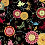 Floragraphix Musings Jason Yenter Colorful Bird and Flower Black Background Cotton Fabric Quilt Fabric AB0091
