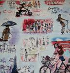 Paris Vintage Sketch Print Ragazze e Ragazzi France Caf Street Scene Cotton Fabric Quilt Fabric AC051
