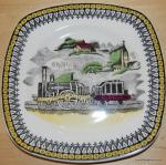 Railway Train Railroad Pottery Plate Signed Portland Pottery Ltd Made in England for PV Cobridge 4 inch plate BOX50A
