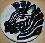 Italy Zebra Hand Painted Italy Pottery Plate Signed 8 plate BOX51B