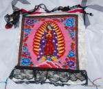 KCB05 Retro Spanish Mexico Our Lady of Guadalupe Tote Bag Handmade Local Artist Vintage Button Handle