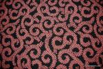 Outdoor Coral Pink and Black Swirl Scroll Leaves Famous Maker Acrylic Reversible Fabric SHDA037