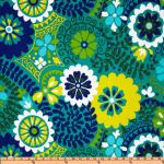 Australia Bold Floral Large Scale Azure Blue Turquoise Navy Teal Lime Citron White Green Indoor OUTDOOR Sun Safe Famous Maker Outdoor Fabric SRI100
