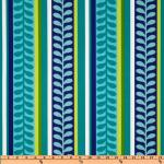 Australia Bold Sweet Pea Vine Leaf Modern Azure Blue Turquoise Navy Teal Lime Citron White Green Indoor OUTDOOR Sun Safe Famous Maker Outdoor Fabric SRI102