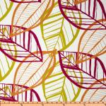 Australia Bold Modern large Scale Leaf Sketch Ivory Citron Tangerine Magenta Indoor OUTDOOR Sun Safe Famous Maker Outdoor Fabric SRI119