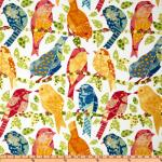 Boho Chic Bird Collage Retro Whimsy Print Indoor and OUTDOOR Sun Safe Famous Maker Outdoor Fabric SRI122
