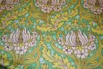Amy Butler T160 Amy Butler Temple Tulips Bright Lime Green and White Flowers w/ Teal background Cotton fabric Heavy fabric