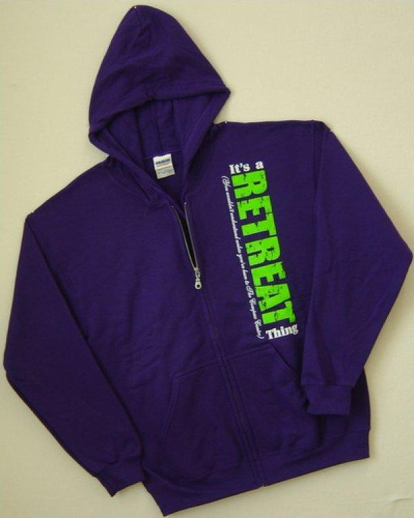 Dark Purple/Lime Compass Centre Full Zip Hoodie Sweatshirt