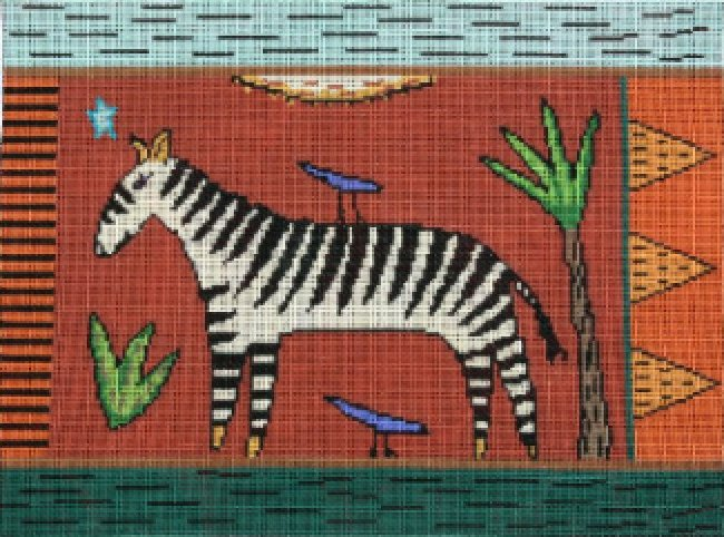 Animal Handpainted Needlepoint<BR>Zebra