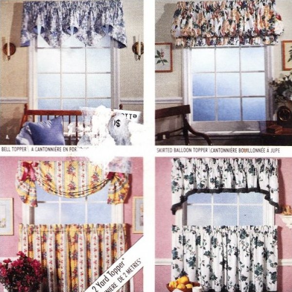 Cafe-Curtain Pattern Valance Swag Balloon Topper McCalls