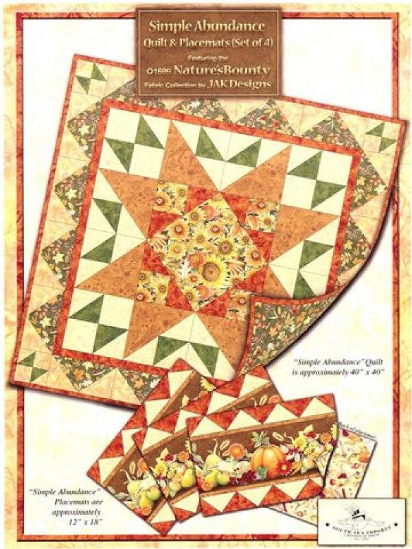 Simple Abundance Placemat Kit by JAK designs - 12x18 - K10329