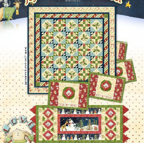 Stars & Holly Quilt 65x65 - joylovepeace noel line of Henry Glass Fabrics - K10565