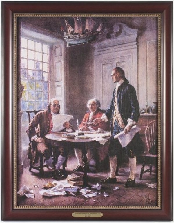 Executive Gallery painting of The Writing of the Declaration of Independence, 1776 by J.L.G. Ferris, 1863-1930