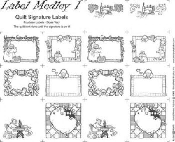 Quilt Label Templates : Label Medley I - Quilt Signature Labels