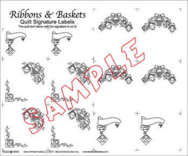 Label Panel - Quilt Signature Labels - Ribbons & Baskets - White or Natural