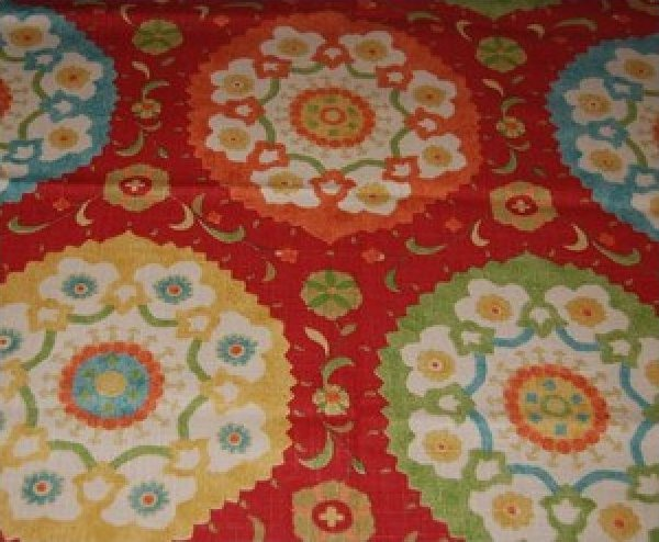 Suzani Print Cotton Upholstery or Drapery Fabric HD508