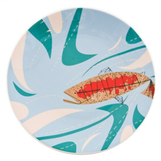 Charley harper trout and waves ceramic fish plate mid for Charley s fishing
