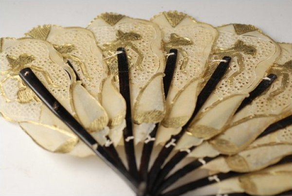 fan vintage asian fan pierced rawhide with gold detailing and
