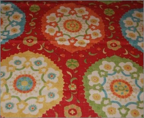 Suzani Retro Modern Heavy Weight Linen Texture Woven Cotton Fabric HD377