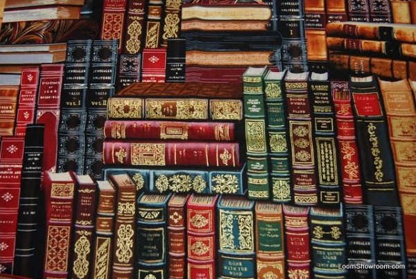 Library Antique Book Leather Bound Binding Reading Vintage Style Cotton Fabric Quilt Fabric AB075