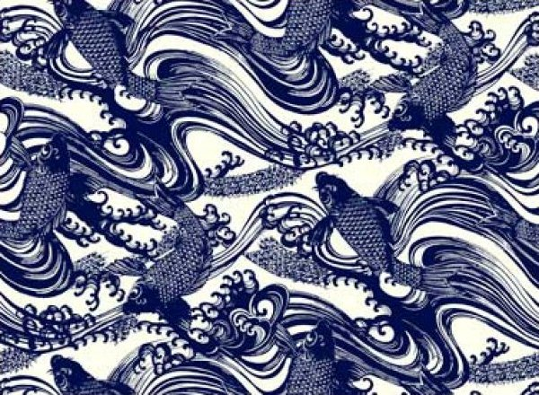 Katagami asia asian blue koi fish wave wood cut japan for Koi fish print fabric