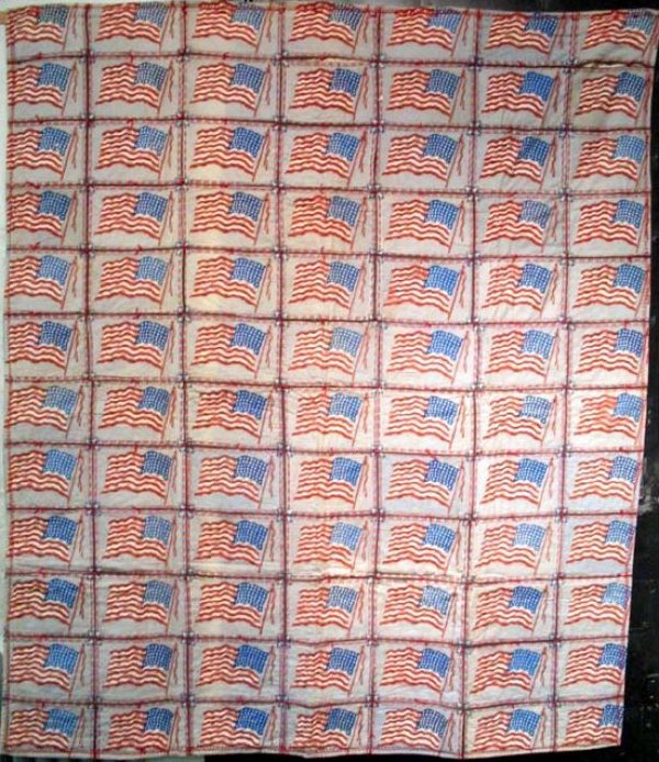 AMERICAN FLAGS 84 CIGAR FLANNELS ANTIQUE QUILT