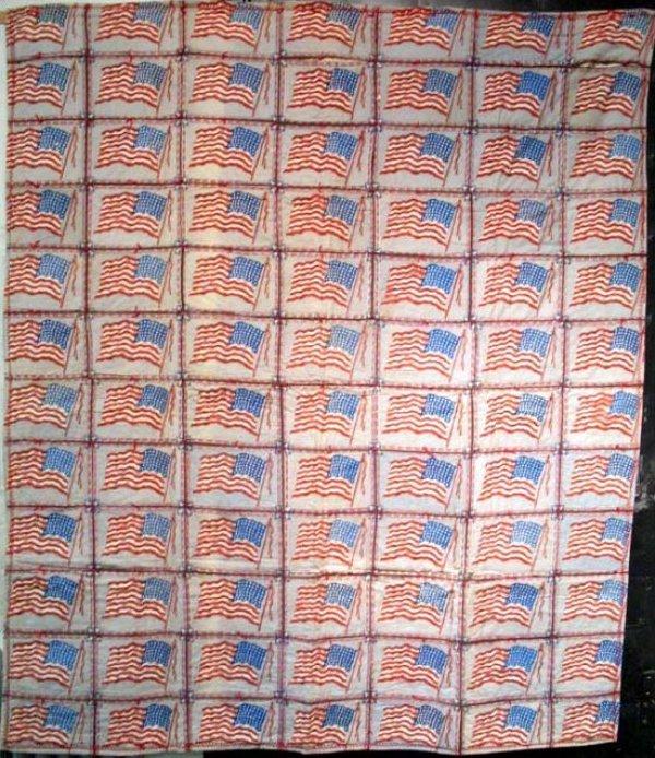 AMERICAN FLAGS 84 CIGAR FLANNELS ANTIQUE QUILT
