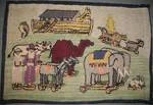 NOAH'S ARK VINTAGE HOOKED RUG of children's pull toys