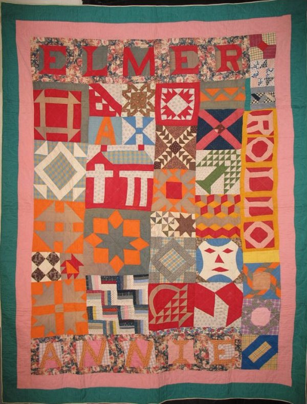 SAMPLER ANTIQUE QUILT, signed ELMER, ANNIE ROLLO