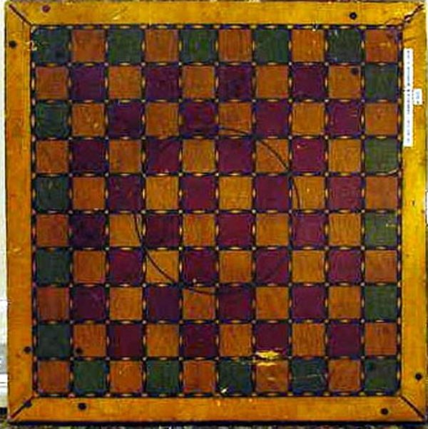 VINTAGE PAINTED GAMEBOARD for 2 different games