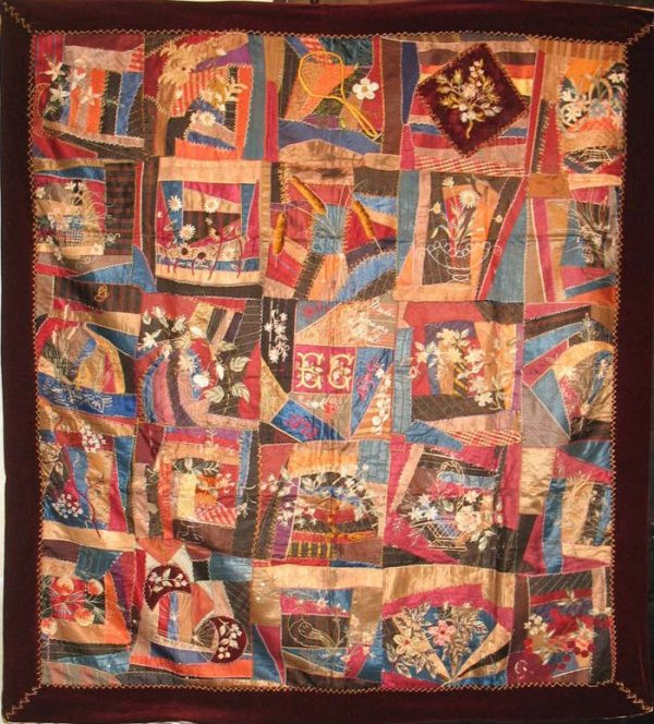 1893 FLORAL 'CONTAINED' CRAZY ANTIQUE QUILT