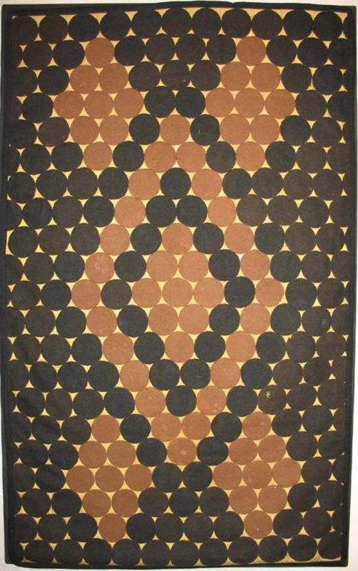 'PENNY MAT' ANTIQUE FOLK ART black and camel