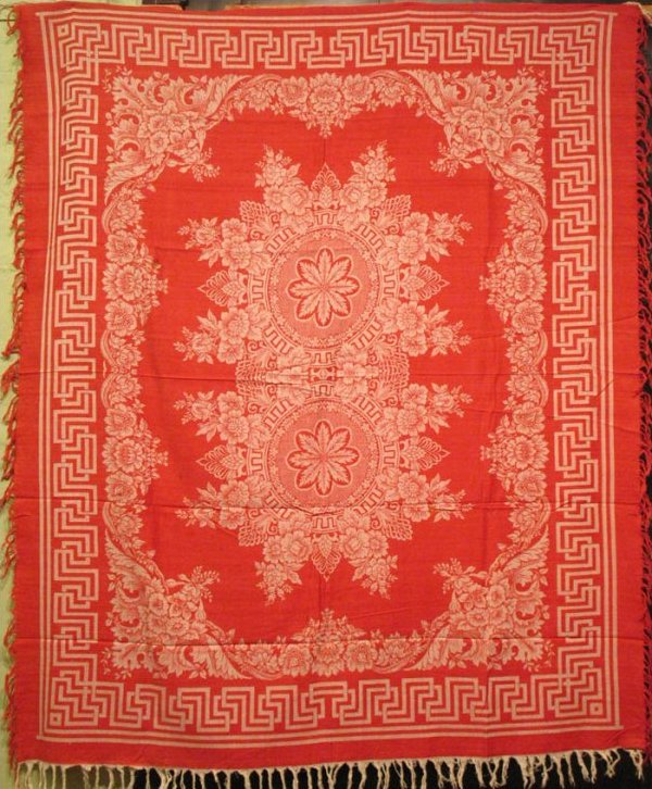 DOUBLE DAMASK RED AND WHITE TABLECLOTH