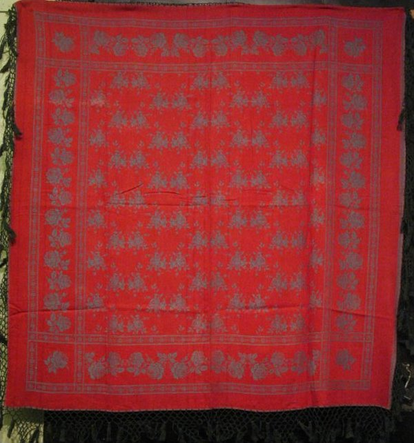 DOUBLE DAMASK RED AND BLUE TABLECLOTH