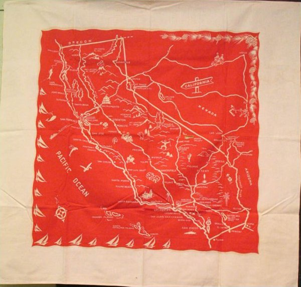 CALIFORNIA 1950S TABLECLOTH WITH NAPKINS, red