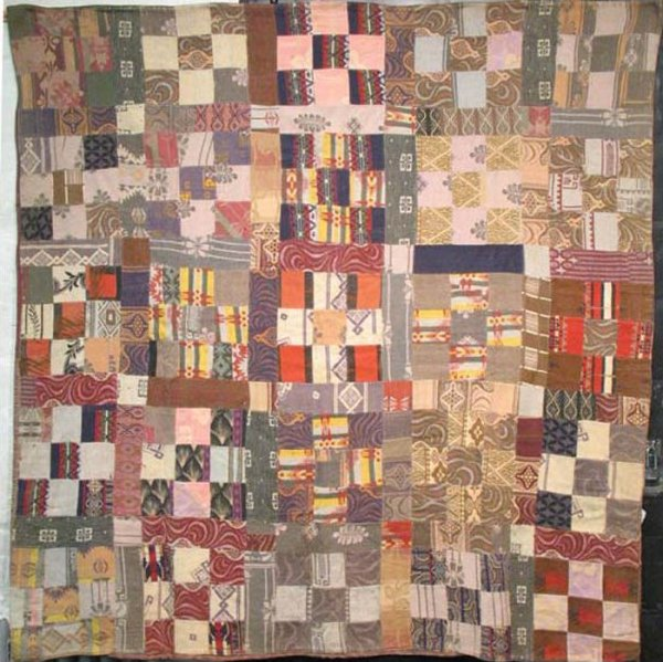 Beacon blankets nine patch antique quilt earth tones for What to do with an old quilt