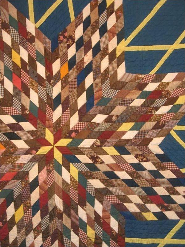 Starburst Antique Quilt Teal Ground Yellow Strips