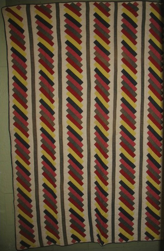 SIX BARS OF DIAGONAL STRIPS ANTIQUE QUILT