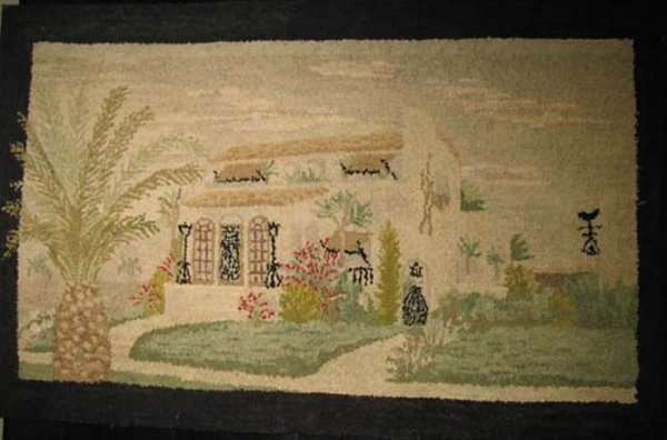 STUCCO BUNGALOW HOUSE ANTIQUE HOOKED RUG