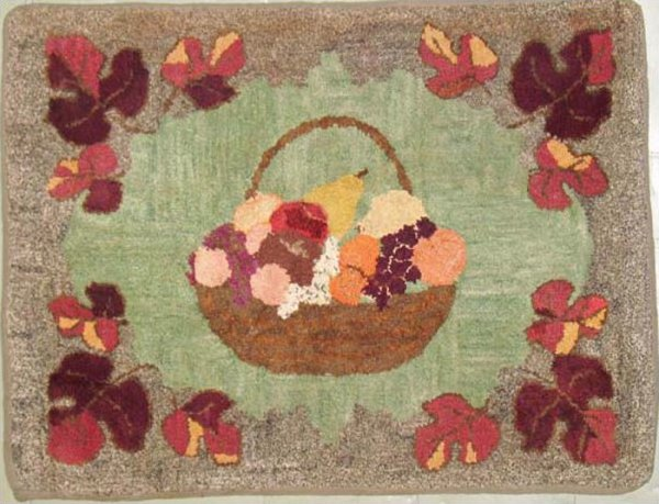 BOWL OF FRUIT ANTIQUE HOOKED RUG