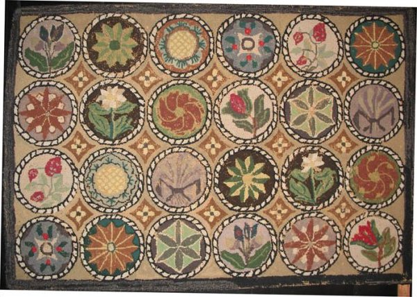 COMPASS AND FLORAL MEDALLIONS ANTIQUE HOOKED RUG